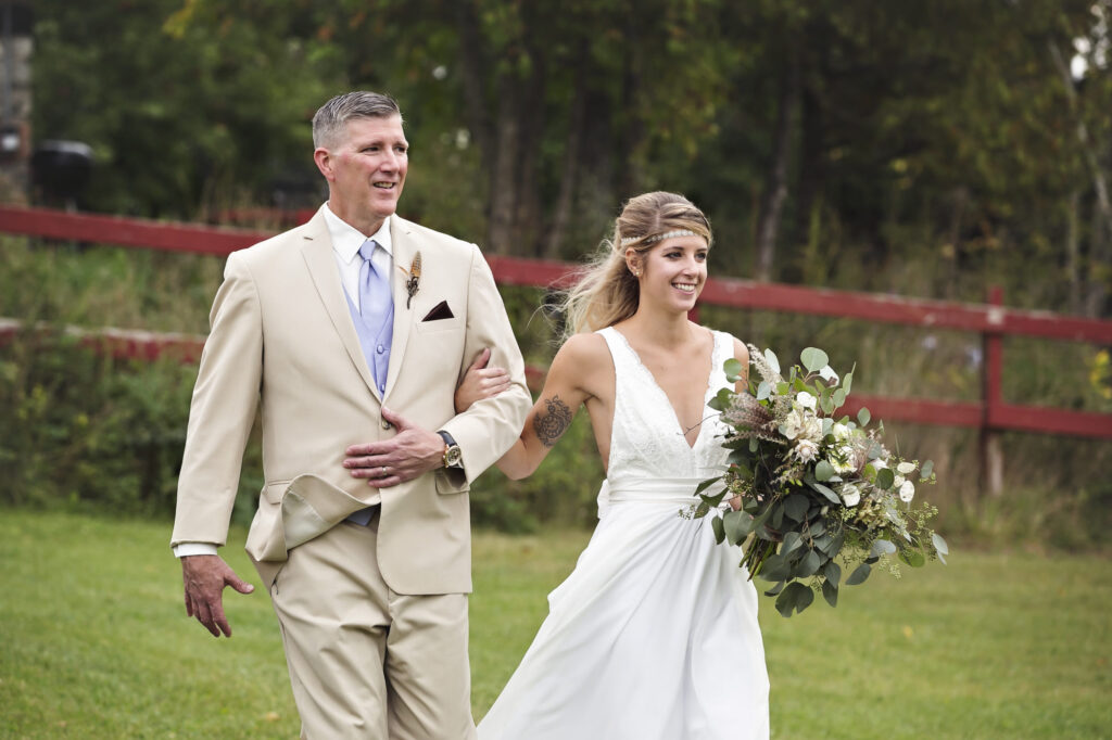 Bride and father at Starry Night Barn and Studios Wedding