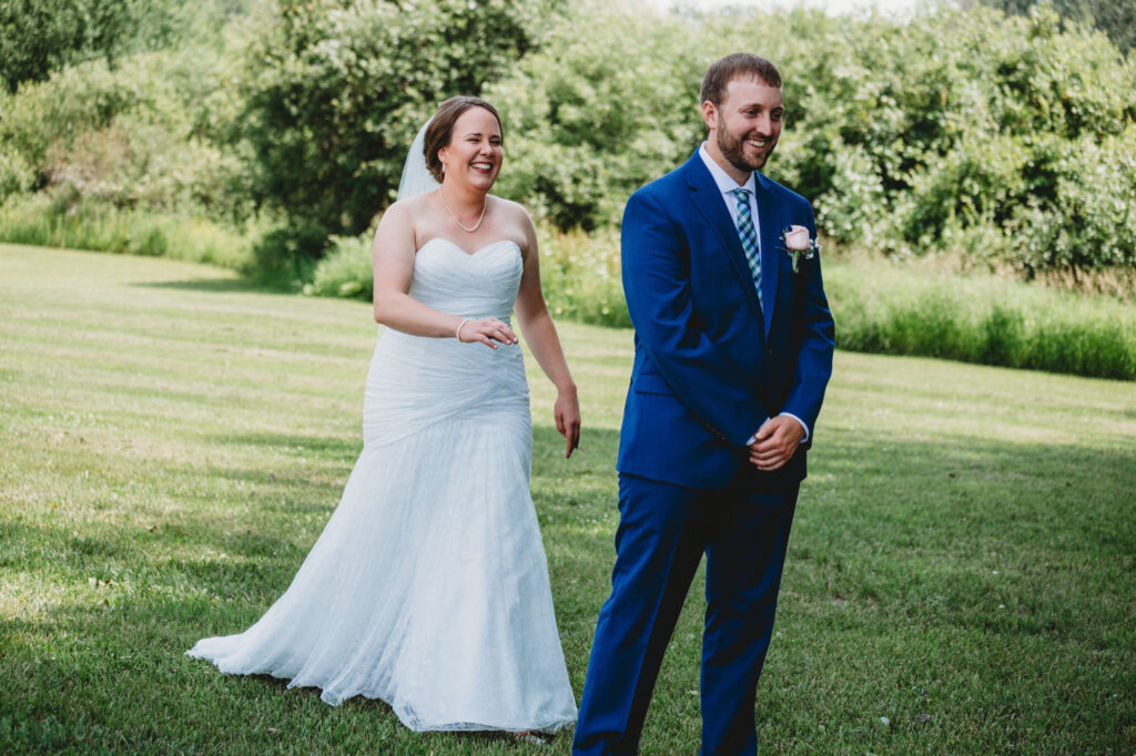 Couple first look at Starry Night Barn and Studios Wedding