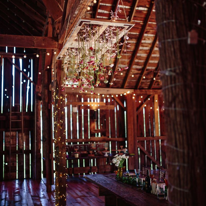Reception hanging flowers at Starry Night Barn and Studios