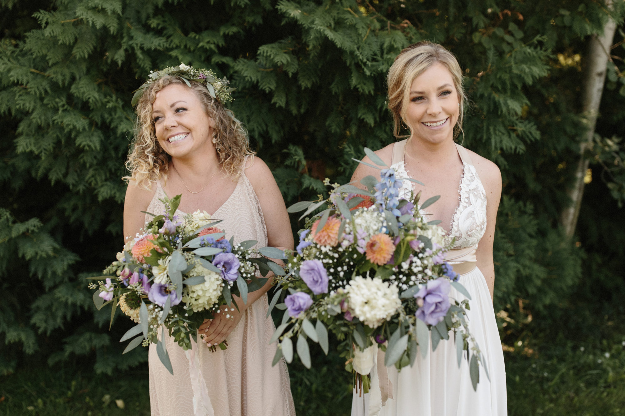 Bride and friend at Starry Night Barn and Studios Wedding