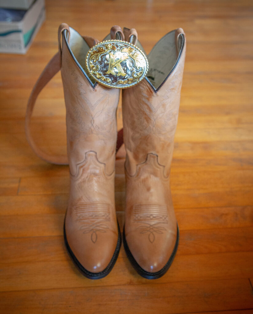 Boots and belt at Starry Night Barn and Studios Wedding