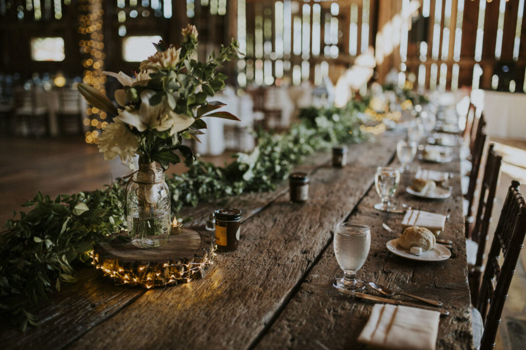 Reception table at Starry Night Barn and Studios Wedding