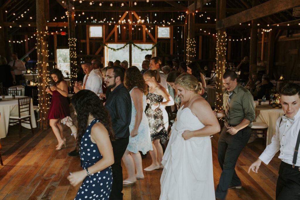 Reception dancing at Starry Night Barn and Studios Wedding