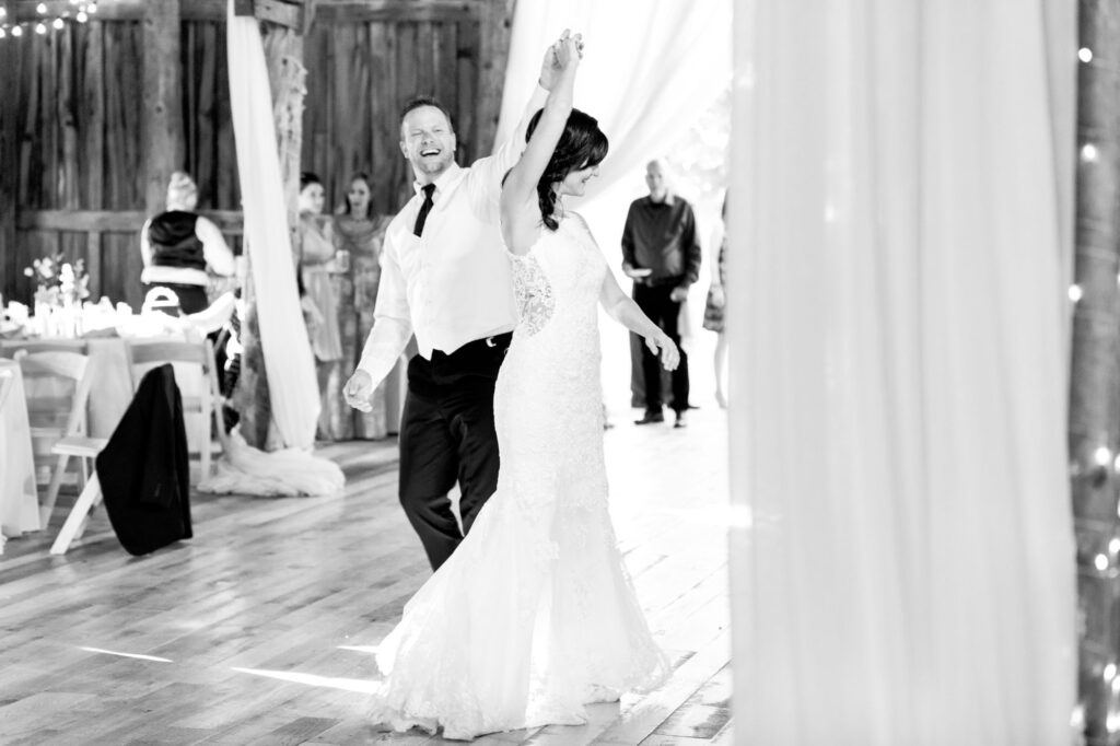 Couple dancing at Starry Night Barn and Studios Wedding Reception