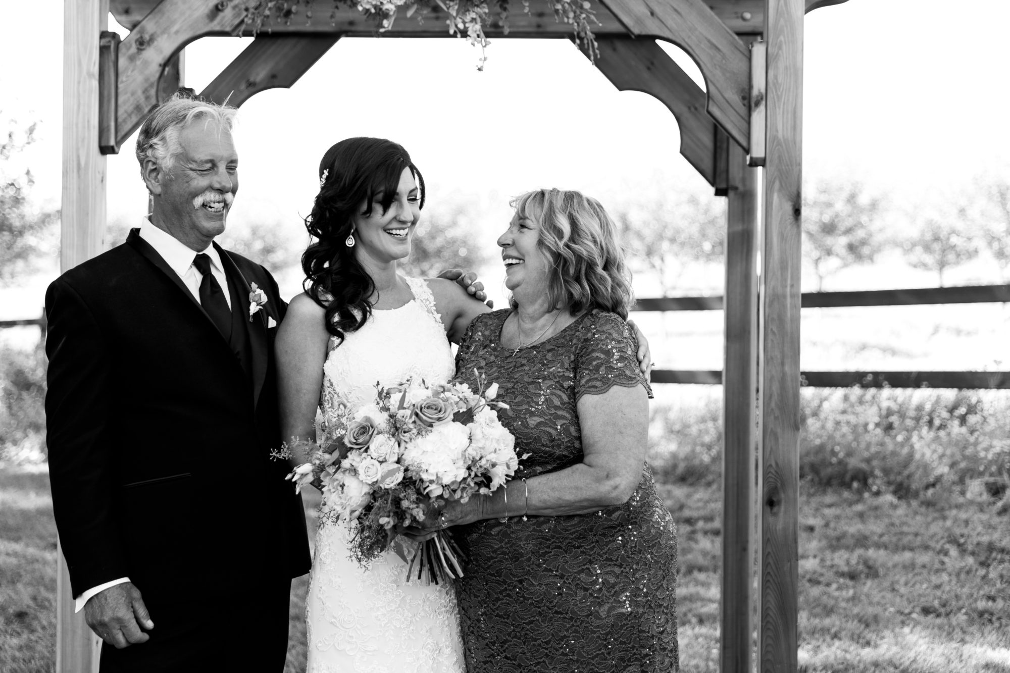 Bride and family at Starry Night Barn and Studios Wedding