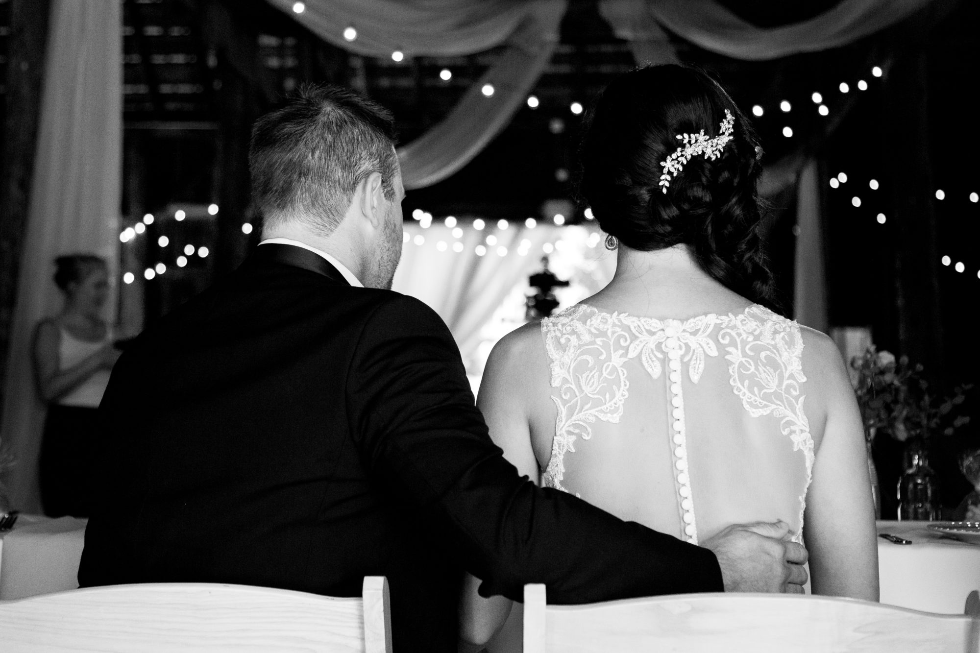 Married couple at Starry Night Barn and Studios Wedding Reception