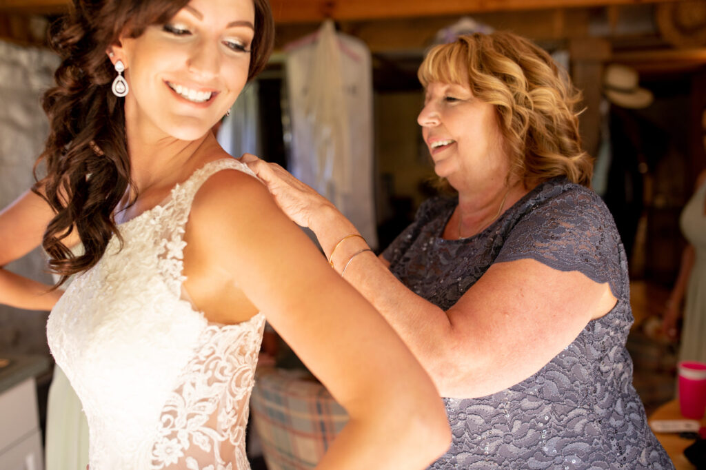 Bride and mother at Starry Night Barn and Studios Wedding