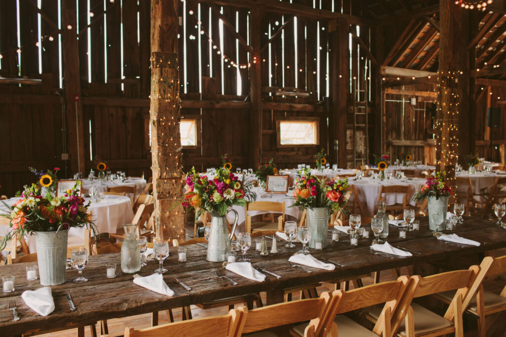 Reception setup at Starry Night Barn and Studios Wedding