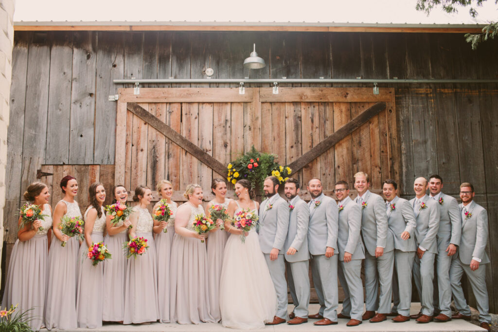 Bridal party at Starry Night Barn and Studios